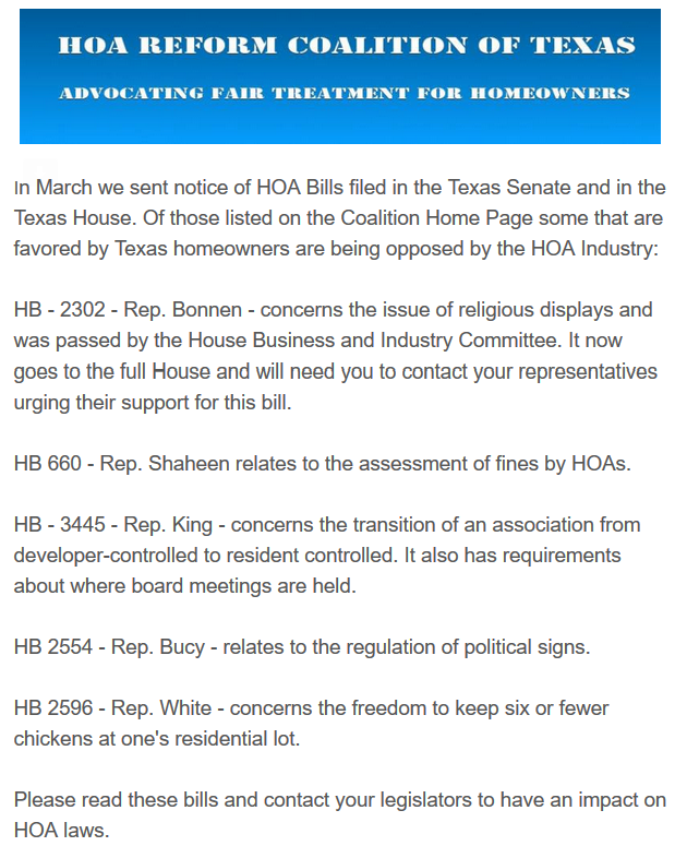 HOA Reform Coalition Texas Legislation